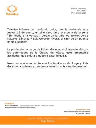El comunicado de Telvisa informando sobre la muerte de los dos actores