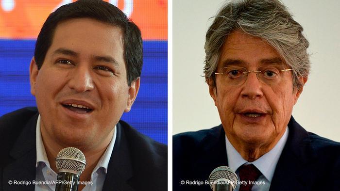 Kombobild | Präsidentschaftskandidaten Ecuador | Andres Arauz und Guillermo Lasso